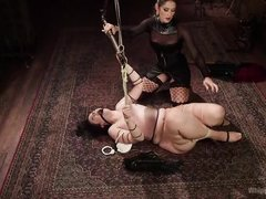 gagged bitch fucked by busty milf with strap on