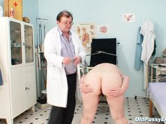 Bozena is a mature lady with big boobs, slutty face and big ass. After doctor asks her to undress he
