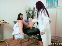 doctor fingers and helps her patient in reaching orgasm